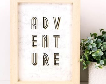 Adventure Print; Gold Foil Print; Typography; Wall Art; Gifts Under 10; Bon Voyage Gift; Adventure Gift; SMP025