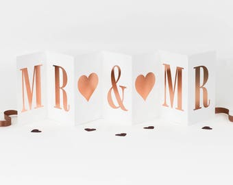 Mr & Mr Concertina Card; Rose Gold Foil Gay Wedding Card; Gay Engagement Card; Gay Anniversary Card; Gay Wedding Card; Mr And Mr; CC017
