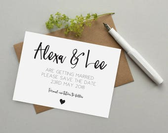 Save the date invite - Save the date cards - Personalised save the date card - Personalized save the date invitation - Custom wedding invite