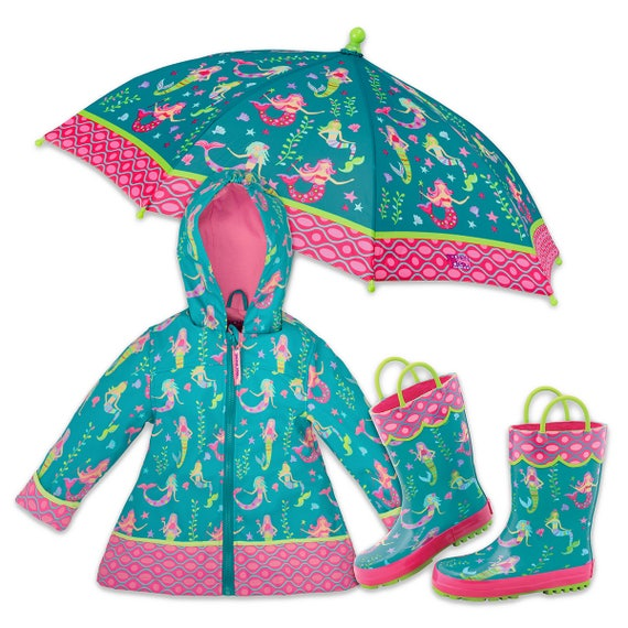3 Pieces Set Stephen Joseph Mermaid Rain Gear, Rain Coat, Rain Boots and Umbrella.