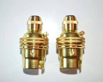 2 brass standard bayonet B22 bulb holders with shade ring G3