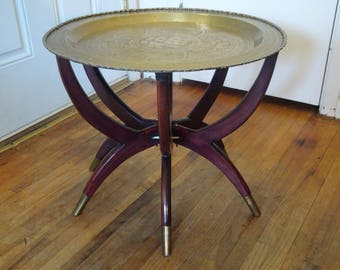 Mid Century Modern Moroccan Style Folding Brass Tray Coffee Table With Spider  Leg Base   FREE