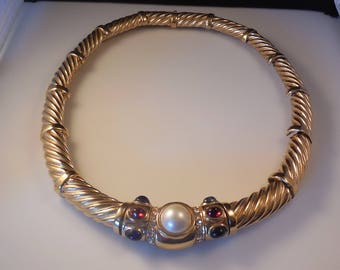Vintage Ciner Cabochon Moghul Jewel of India  Twisted Gold Tone Collar Necklace