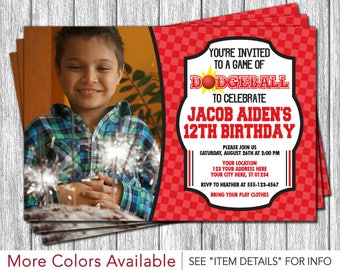 Dodgeball Birthday Invitation - Red and Black
