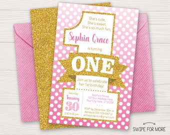 Pink and Gold Ombre First Birthday Invitation | Pink and Gold 1st Birthday Invitations | Personalized and Printable