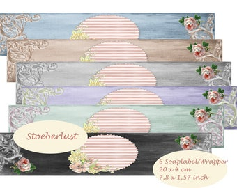 INSTANT DOWNLOAD  A 4 - 6 Soap-wrapper, self-labeling,  Roses size 20 x 4 cm instant download digital paper