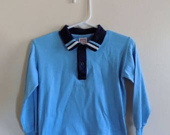 50s 60s Blue Shirt, Buster Brown, Boys Shirt, Long Sleeves, Blue, White, Navy, 1950s, 1960s, Collared Shirt, Size 4, Boys Vintage Clothing