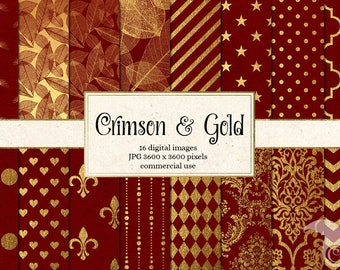 Crimson Red and Gold Foil - 16 Pack Digital Paper Golden Textures, Patterns, red and gold printable Scrapbook Paper instant download
