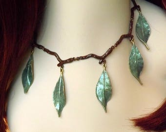 Elven Necklace - Green Leaf Necklace - Sage Green Nature Jewelry - Green Choker w/ Branches and Leaves - Nature Lover Gift - Elven LARP