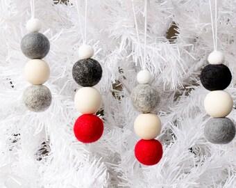 Felt Christmas Ornaments x 8. Felt Bead Ornaments Hanging. Felt Ball Ornaments. Pom Pom Ornaments. Christmas decorations. Xmas Tree Ornament