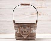 Personalized Flower Girl Bag Flower Girl Basket Rustic Wedding Bucket Wedding Basket Bridal Basket Flower Bucket Flower Girl Pail and Bearer