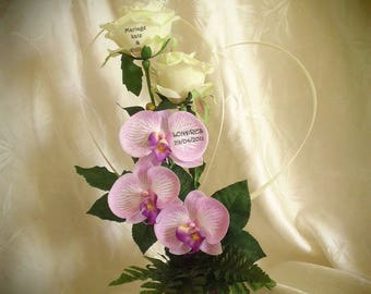 artificial orchids and roses table Center