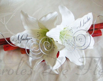 Wearing red, white and silver wedding band, bamboo, diamonds and artificial customize Lily