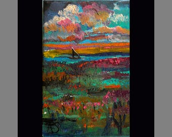 Field of Flowers Pink Clouds and a boat Seascape painting original impressionism