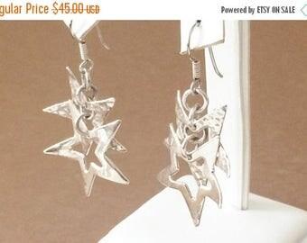 33% Off Christmas in July Sterling Silver Double Star Dangle Earrings