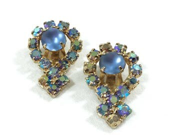 Blue Aurora Borealis Earrings, Crystal Rhinestone Bridal Earrings, Satin Glass, 1950s, Wedding / Special Occasion Jewelry, Vintage