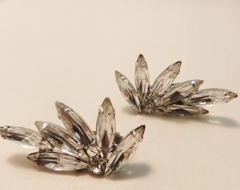 Vintage Rhinestone Fan Clip On Earrings