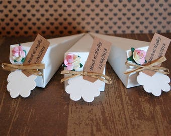 Personalised wedding biodegradable pink or red confetti real rose petals confetti cones hand tied with raffia and rustic tags