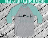 IRON On v182 Mountain EKG Heartbeat  Heat Applied T-Shirt Transfer Decal *Specify Color Choice in Notes or BLACK Vinyl 113 Color Options