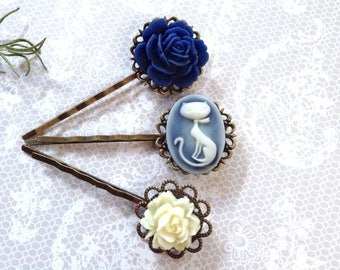 Navy Cat And Rose Flower Hair Clips