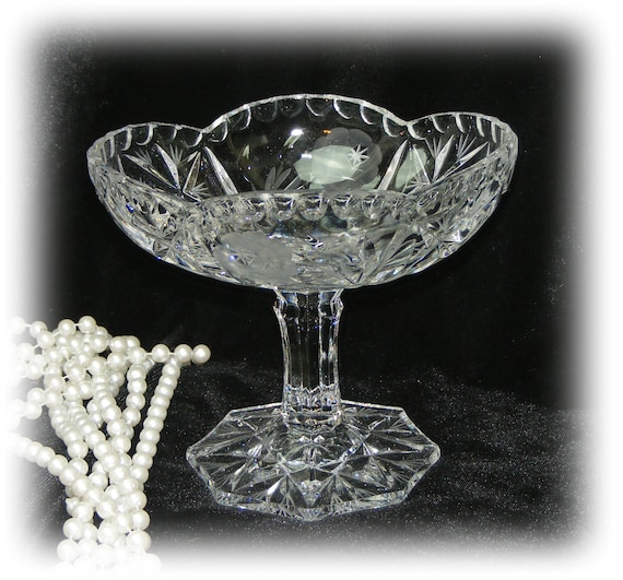 Exquisite Stemmed Crystal Nut Dish