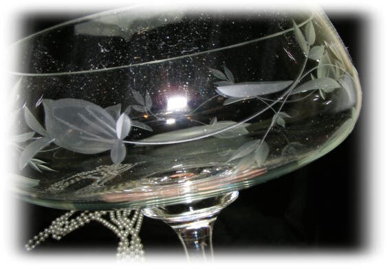 Etched & Cut Glass Large Goblet