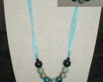 Col085 - Collar Ribbon and blue turquoise beads