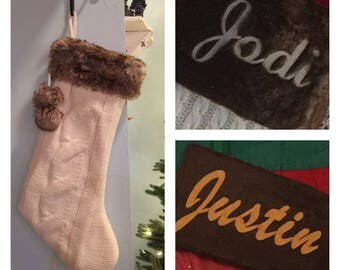 "Irish White cable knitted with Brown Fur Cuff 20"" Christmas Stocking - Personalized"