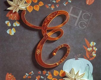 Thanksgiving or Fall Monogram: Custom, Quilling, Art, Home Decor, Gift