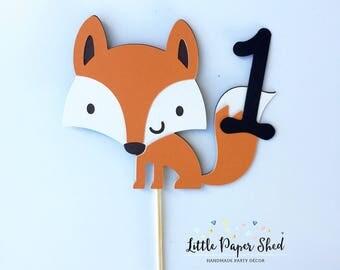 Handmade Age Cake Topper - Woodland Fox Theme x1