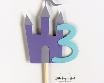 Handmade Age Cake Topper - Castle Princess Theme x1