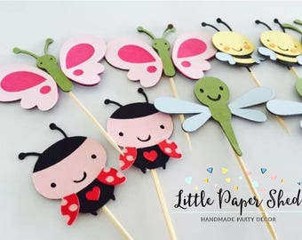 Handmade Cupcake Toppers - Insect Bug Garden Theme x 12