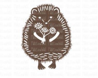 Hedgehog svg/png/dxf cricut/silhouette digital cutting file/woodland svg/animal svg/svg hedgehog/flowers svg/svg cut file/cute hedgehog/HTV