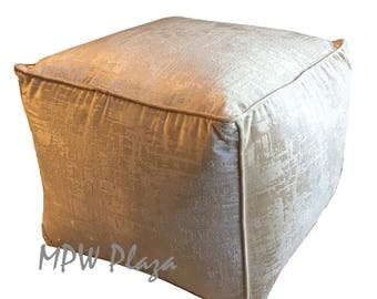 NEW COLLECTION-Velvet  Moroccan Pouf/Ottoman (Vanilla)