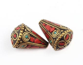 June Clearance Sale 2 Pcs Tibetan Cone Shape Brass Beads With Turquoise Coral inlay Bead 24mmx16mm PFA149