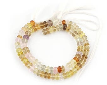 Valentines Day 2 Strands Mix Stone Faceted Rondelles - Roundel Beads 6mm-7mm 7 Inches SB2556