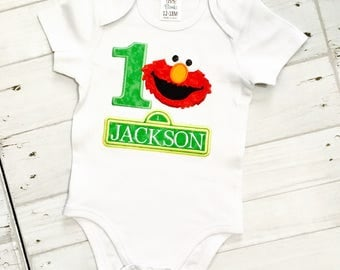 Personalized Embroidered Elmo 1st Birthday First Birthday Bodysuit or Shirt