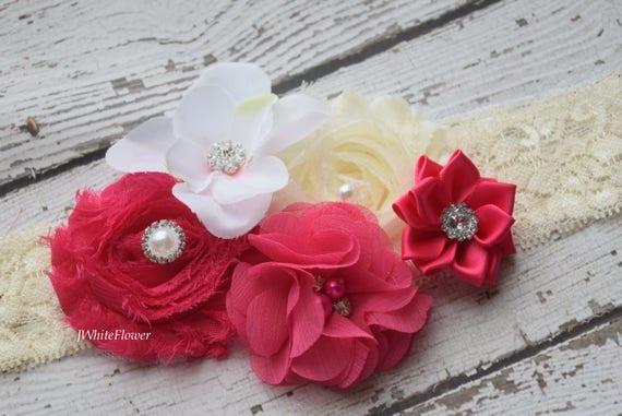 Hot pink ivory Shabby Flowers Baby Headband, Newborn Headband,  Infant Headband,Baby Headband, Headband Baby