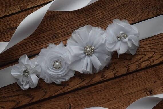 Flower Sash,  small white  Sash , flower Belt, maternity sash, wedding sash, maternity sash girl, flower girl sash