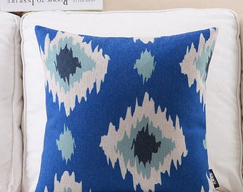 Decorative pillow, cushion cover blue geometric pattern home throw pillow shell customized size