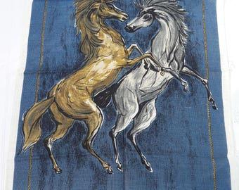 Vintage Fragonard Design Irish Linen Tea Towel Rearing Horses -  Unused