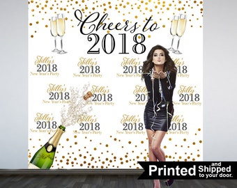 Cheers to New Year Personalize Photo Backdrop -2018 Celebration Photo Backdrop- Party Large Photo Backdrop, Happy New Year Party Backdrop