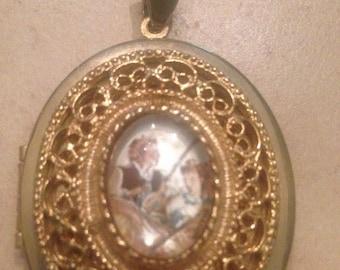 SALE Vintage Gold Locket Pendant Costume Jewelry