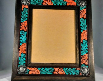 Custom Leather Picture Frame - Painted Embossed Leather - Painted Western Frame - Western Leather Frame - 8x10 Picture Frame - Cowboy Frame