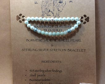 Burmese jadeite, shell pearls and sterling silver yoga stretchy bracelet