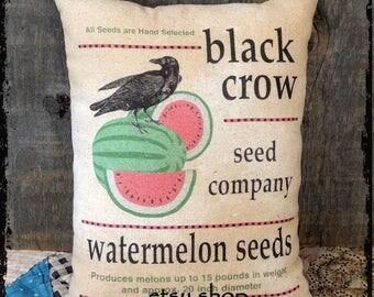 Primitive Crow Watermelon Seeds Feedsack Type Pillow or Panel