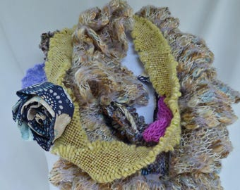 Mixed Media Cowl - Blues, Purples and Neutrals