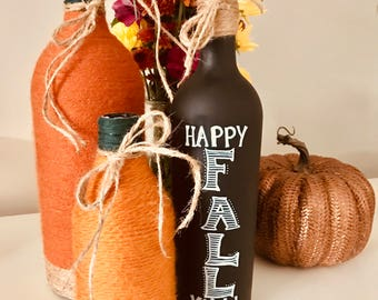 It's Fall Ya'll Upcycled Wine Bottles