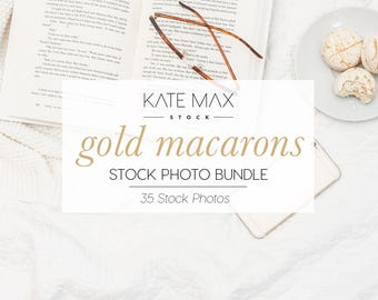 Gold Macarons Stock Photo Bundle / Styled Stock Photos / 35 KateMaxStock Lifestyle Branding Images for Your Business