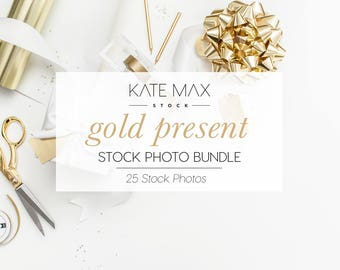 Gold Present Stock Photo Bundle / Styled Stock Photos / 25 KateMaxStock Branding Images for Your Business